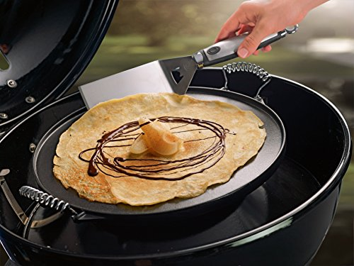 51CRyfGX5gL - Outdoorchef Gusseisen Grillplatte 420 - Grill-Wende-Platte - Gasgrill Zubehör für Kugelgrill - Grillpfanne doppelseitig verwendbar - Ø 33 cm