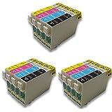 12x (3xShwarz, 3xCyan, 3xMagenta, 3xGelb) Druckerpatronen komp. für Epson Stylus Office B42WD BX305F BX305FW BX305FW Plus, BX320FW BX525WD BX535WD BX625FWD BX630FW BX635FWD BX925FWD BX935FWD Stylus SX235W SX420W SX425W SX435W SX445W SX525WD SX535WD SX620FW WorkForce WF-7015 WF-7515 WF-7525