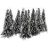 Generic - 10pcs verde paisaje del paisaje modelo cedar trees 12cm --- escala: 1:75, color blanco