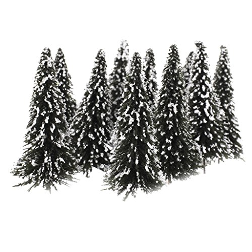 10pcs-white-dark-green-scenery-landscape-model-cedar-trees-12cm-scale-175