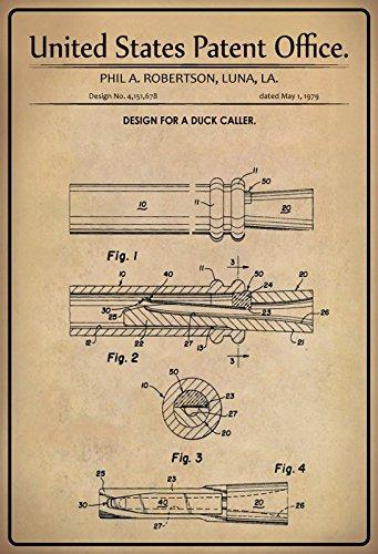 Schatzmix United States Patent Office - Design for a Duck Caller - Entwurf für eine Ente Anrufer - Robertson, Los Angeles, 1979 - Design No 4.151.678 - Blechschild