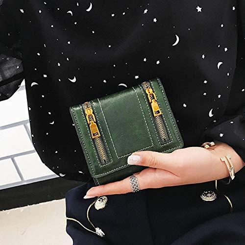 Fyyzg Doppelreißverschluss Damen Geldbörse Sommer Neue Handtasche Europa und den Vereinigten Staaten dreifach gefaltet - grün