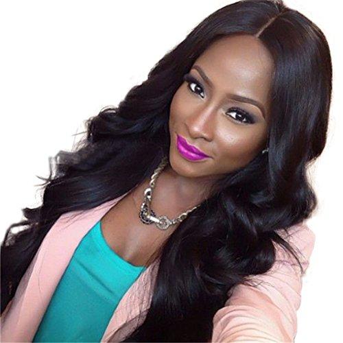 Grande Vague Longue Perruque Ondulée avec Perruque Synthétique Naturel Noir/Brun Couleur des Cheveux Résistant à la Chaleur Perruque Pour les Femmes (Marron)