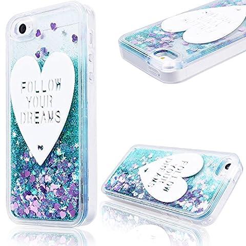 GrandEver Coque iPhone 5 / 5s / SE Cœur Motif Design Transparente à Paillette Bleu Dur Plastique PC Glitter Liquide Crystal Antichoc Case Etui Housse pour iPhone 5 / iPhone 5s / iPhone SE