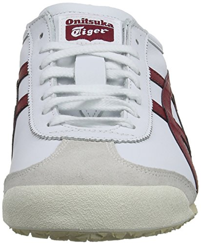 Onistuka Tiger Mexico 66, Chaussons Sneaker Mixte adulte Blanc (white/burgundy 0125)