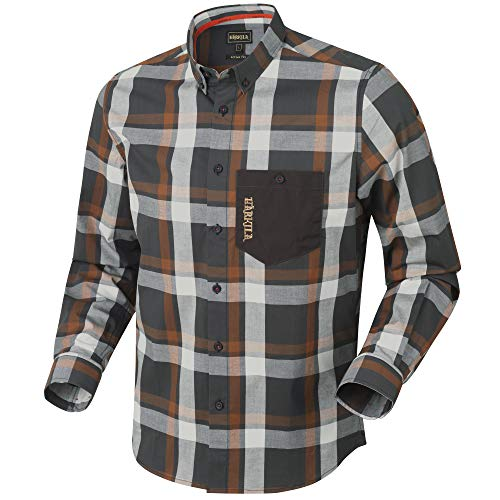 Härkila Amlet L/S Jagd- und Freizeithemd im Active-Fit-Design | Jagdhemd | Outdoorhemd | Freizeithemd (Spice Check, 3XL)