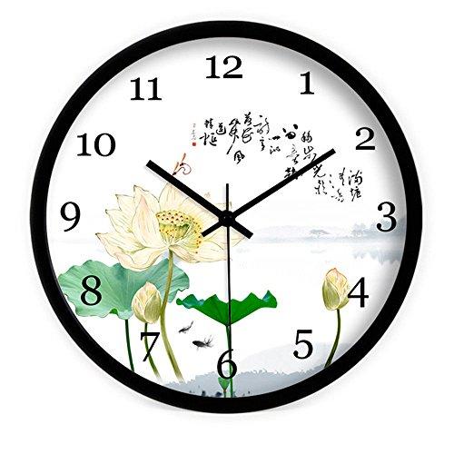 VariousWallClock Wall Clocks Wanduhr Uhren Wecker Uhr Haushalt Pendeluhr Lotus Teich Kalligraphie weiß 14inch