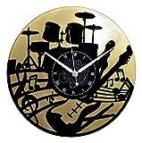 Instant Karma Clocks Instant Karma Horloge Murale en Vinyle Double idée Cadeau Handmade-Maison Guitare Musique Clavier Batterie (doré), Vintage, Silencieux