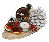 Oppacher Advent Gesteck, Holz, Zapfen, Zweige, Früchte, weiß, 19x10x8 cm