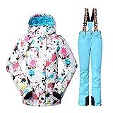 Wonny 2 Teilig Skianzug Wasserdicht Schneeanzug Jacke und Hosen Unisex Skiset Hellblau S