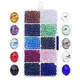 800 Stück 6mm Facettierte Glasperlen Kristall Rondelle Kügelchen mit Box und Sauberes Tuch