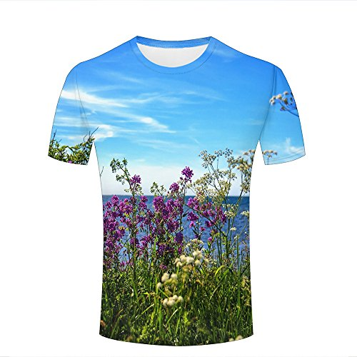 Mens Womens Casual Design 3D Printed Blooming Seaside Graphic Short Sleeve Couple T-Shirts Top Tee L (Design Junior T-shirt Ringer)