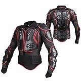 Veste Armure Moto Blouson Motard Gilet Protection Équipement de Moto Cross Scooter VTT Enduro Homme ou Femme (Rouge, L)