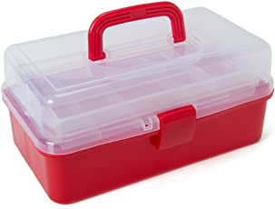 Buckle Up Multipurpose Tool Box with 3 Layer Storage Box Container and Handle (Blue or Red)