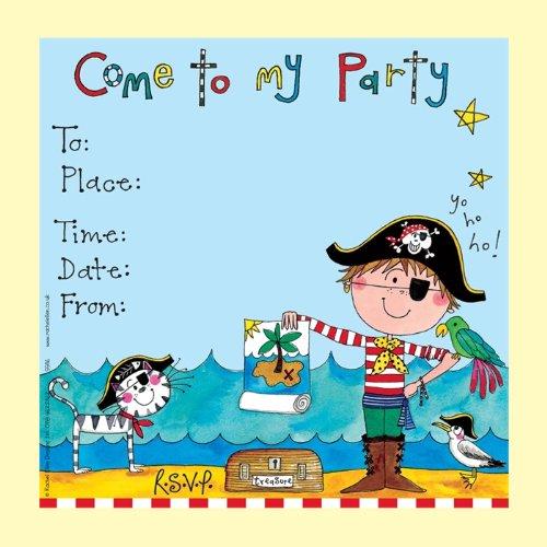 Rachel Ellen Set Von 8 Kinder-Partei-Einladungen - Blau Piraten Einladungen - Blue Pirate Invitations