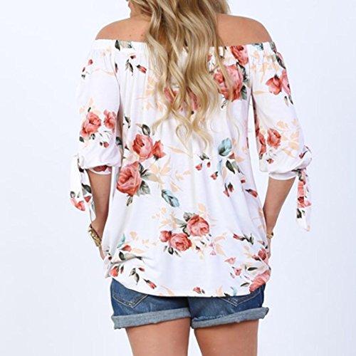 OverDose Damen Spitze weg vom Schulter-beiläufige kurze Hülsen-T-Shirt Spitzenbluse B-Weiß