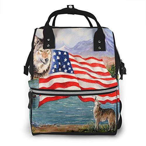 Wildlife Freedom - Mochila multiusos con bandera de Estados Unidos, gran capacidad para momia, gran...