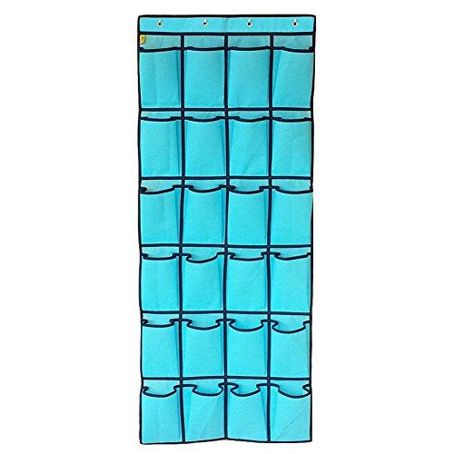 Vectri Multifunktionale Aufbewahrungstasche Für Tür mit 24 Tasche, hängend Aufbewahrungstasche Ordnungssystem Schuhschränke, Multifunktionales Schlafzimmer Bad Organizer Kleiderschrank hängenden Beutel Schutt Sortier Socken Handytasche (Hellblau)