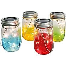 4 Lanternes Bocaux Lumineux Solaires en Verre 13 cm - 5 LED Intérieures - Waterproof - (Piles Rechargeables Incluses)