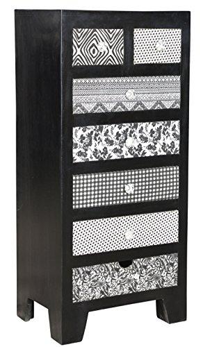 The Wood Times Kommode Schrank Massiv Vintage Look Kalkutta Mangoholz, FSC Zertifiziert, BxHxT 50x110x35 cm
