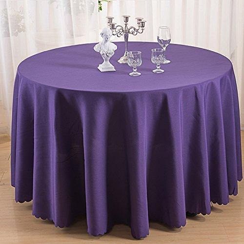 BLUELSS 100% Polyester runde Tischdecke Esstisch Tuch für Hotel Büro Hochzeit Dekoration In festen Farben, Pflaume, rund 240 cm -