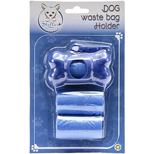 Stellar Pet Boutique Bone Shaped Waste Bag Holder W/60 Bags-Blue (Bag Waste Holder)