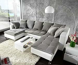 Canapé firenze blanc gris 310 x 200 ensemble sofa oT r