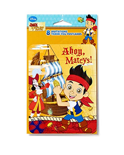 Arteki Pirates Jake and The Never Land Pirates Invite and Thank You Combo, 8 Pack, Party Supplies (Invite/Thank You Combo)