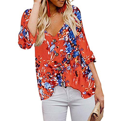 CEFGR 2019 Frauen Straßen Pullover Langarm V Ausschnitt Floral Button Down Shirts Casual Tops Shirts Blusen Herbst Sweatshirt Mit Kapuze Tops Weiche Tunika (Donald Duck Anzug)