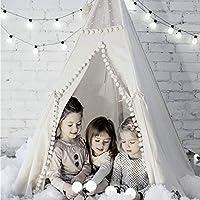 con Custodia da Trasporto AUNLPB Teepee Kids Tenda può Essere utilizzato con Stelle Decorative e Adesivi Bianco 5 Pali di Legno Tela Tipi
