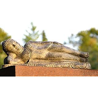 Ars-Bavaria Wunderschöner liegender Buddha Parinirvana Steinskulptur Lavaguss Antik Finish