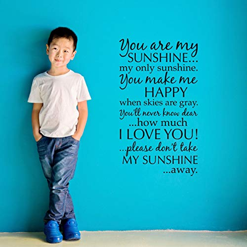 nshine Wandaufkleber mit Zitat You Are My Sunshine, 33 x 58 cm ()