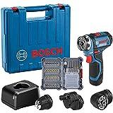 Bosch Professional System Atornillador GSR 12V-15 FC, Incluye batería de 1x2.0 Ah, Cargador rápido, 3X portabrocas, 40 pcs. J