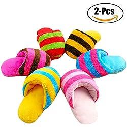 Juguete para Mordedura de Perro, Legendog 2 Piezas Juguete para Mascotas Zapatillas de Rayas Forma Juguete para Perro de Felpa Juguete para Mascotas Juguete de Sonido Color Aleatorio