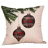 BHYDRY Funda de almohada de navidad Brillo de algodón de lino Sofá Throw Cushion Cover Decoración