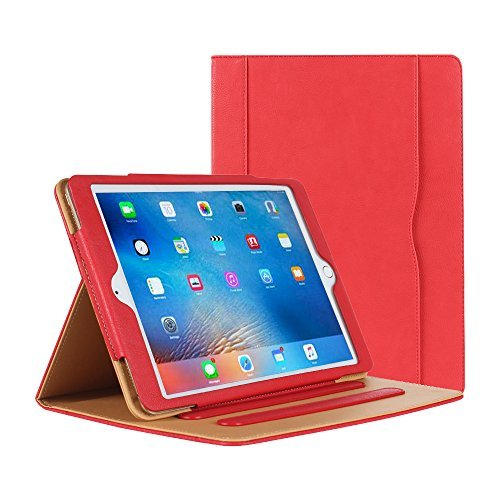 iPad Air Hülle - iPad PU Leder Smart Schutzhülle Cover Case mit Ständer Funktion und Auto-Einschlaf/Aufwach für Apple iPad Air/Neu iPad 9.7 (5th generation) 2017 (rose) (Apple Air Leder Case Slim Ipad)