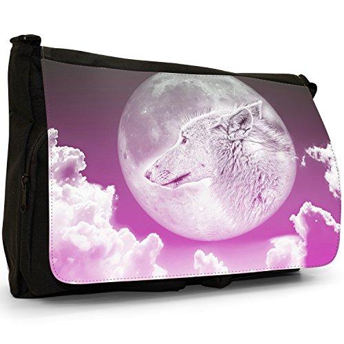 Lupo mannaro, colore: nero, Borsa Messenger-Borsa a tracolla in tela, borsa per Laptop, scuola Moonlight Wolf - Pink