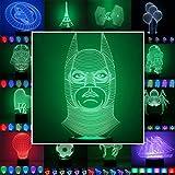 3D Lampe 3D Leuchte 3D LED Stimmungslicht. 7 Farben - 81 verschiedene Motive, hier Batman ca.25x12cm inkl.Sockel - 3D Illusion Dekolicht mit USB Anschluß und 220V USB Netzteil