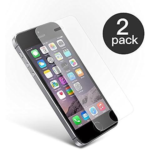 CoolReall-2xPack Protector de Pantalla de Cristal Vidrio Templado para Apple iPhone 5 5C 5S/iPhone SE/iPhone 5 SE (0.25 mm), transparente