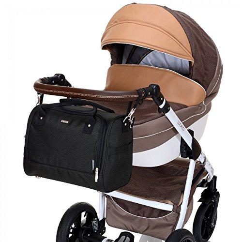 LCP Kids 670 Baby Wickeltasche SYDNEY JETBLACK mit wasserdichter Wickelunterlage und Kinderwagen Universal Befestigung in schwarz