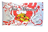 Fahne / Flagge Just Married Tauben + gratis Sticker, Flaggenfritze®