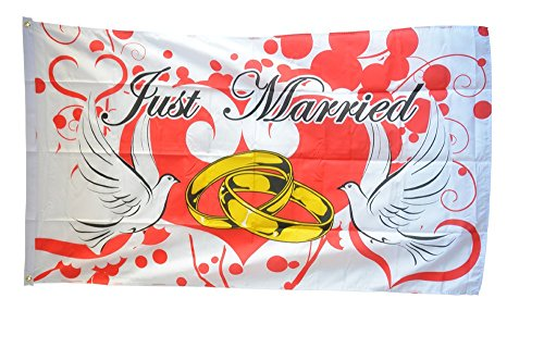 Fahne / Flagge Just Married Tauben + gratis Sticker, Flaggenfritze®