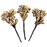 BAAL Flower Hair Pins, Bun Maker Hair Pins For Women And Girls, Gold, 15 Grams, Pack Of 1