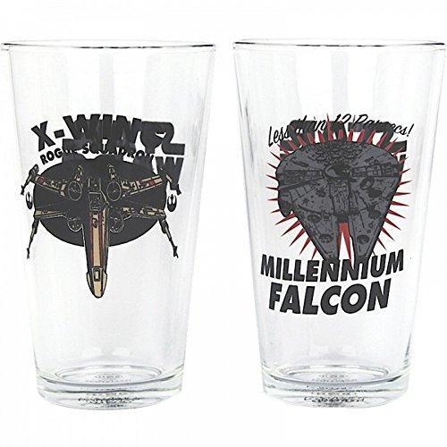 Star Wars - Biergläser 2er Set - 550ml - X-Wing Vs. Falcon - verpackt in einer Geschenkbox! (Disney Glas-krug-set)