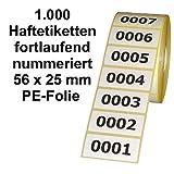 Etiketten / Aufkleber auf Rolle - Polyester-Folie (PE) - fortlaufend nummeriert - 56 x 25 mm (1000)