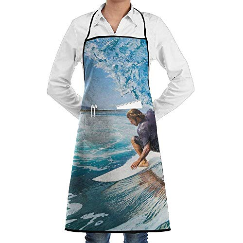 Kotdeqay Blue Waves Surf Professional Kitchen Aprons£¬Custom Bib,Wear and Fall in Love