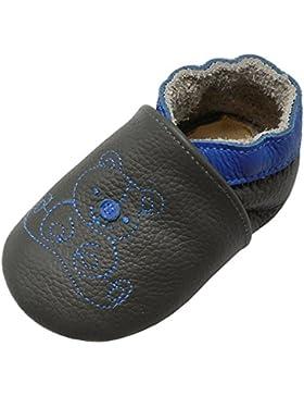 Yalion Baby Weiches Leder Lauflernschuhe Krabbelschuhe Hausschuhe Lederpuschen Bärchen in 3 Farben