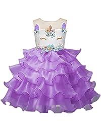 OBEEII Niña Vestido Unicornio Disfraz de Cosplay Traje Princesa Tutu Falda para Fiesta Cumpleaños Desfile Comunión