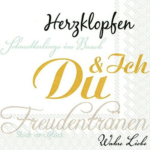 Ihr Hochzeit Servietten Prägung 50 Goldhochzeit Ich & Du Gold Liebe 20 Stück, 3-lagig 33x33cm