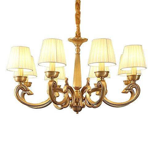 Leohome Amerikanischen Kupfer Kronleuchter 3 6 8 arm Voller Bronze für Schlafzimmer Esszimmer Wohnzimmer Luxus Suspendion Leuchten E14 3 Watt lampe, 8 köpfe - Bronze 8 Arm